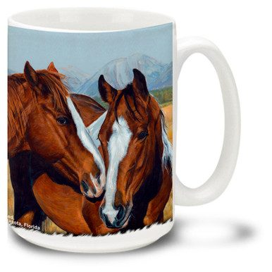 Enjoy your morning coffee with this Friendly Horses Coffee Mug! Featuring Two Nuzzling Horses, this Horse coffee Mug is dishwasher and microwave safe and features a colorful image of horses mug holds 15oz.