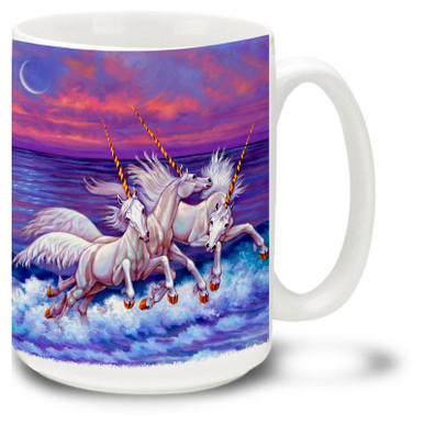 Take a coffee break with this colorful Frolicking Unicorn Coffee Mug! Featuring unicorns enjoying a beach sunset, wild unicorns coffee Mug is dishwasher and microwave safe and features a vivid painting of Unicorns mug holds 15oz.