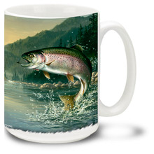 What fishing fan wouldn't want to take a coffee break with this Rainbow Trout Coffee Mug? Features a colorful trout breaking the surface, this vivid Trout Mug is dishwasher and microwave safe and celebrates fishing mug holds 15oz.
