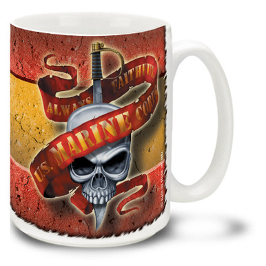 Always Faithful U.S. Marine Corps coffee mug featuring skull and sword. This United States Marines mug is dishwasher and microwave safe and features a great USMC slogan.