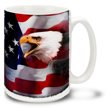 American Bald Eagle with United States Flag - 15oz. Mug