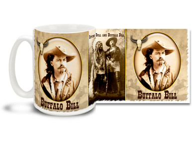 "William Frederick ""Buffalo Bill"" Cody was an American soldier and Wild West showman. Start your biggest days with a Buffalo Bill Cody Mug! Featuring historic photos of Buffalo Bill and Sitting Bull, this Buffalo Bill coffee Mug is durable, dishwasher and microwave safe."