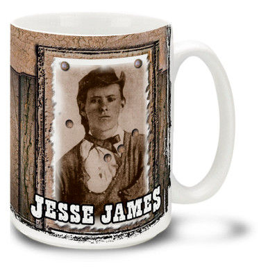 American outlaw, robber, and murderer and the most famous member of the James-Younger Gang, Jesse James was a Legendary Wild West figure. Start your baddest days with a Jesse James Mug! Featuring a historic photo, this Jesse James coffee Mug is dishwasher and microwave safe.