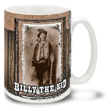 William H. Bonney was better known as Billy the Kid an American gunman who became a frontier outlaw in the American Old West. Have some cowboy coffee in a Billy the Kid Mug! Featuring a historic photo, this Billy the Kid coffee Mug is dishwasher and microwave safe.