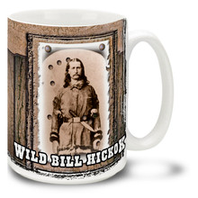 """Wild Bill"" Hickok was skilled as a gunfighter as well as a gambler, Wild Bill served as a lawman in the frontier territories and fought for the Union Army during America's Civil War. Drink up some coffee in your very own Wild Bill Hickok Mug! Featuring a historic photo, this Wild Bill coffee Mug is dishwasher and microwave safe."