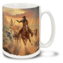 Cowboys Roping Fast and Furious Coffee Mug - 15oz. Mug