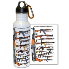 Our ever popular AK-47, with art from famed firearms graphics artist Robert Burrows on a take-anywhere water bottle! The AK-47 is one of the most widely used and popular assault rifles in the world, with more variations of this design produced than all other assault rifles combined. Officially known as the Avtomat Kalashnikova, the AK47 Assault Rifle has been in service since 1949. Stainless Steel Water Bottle. Complete with handy carabiner!