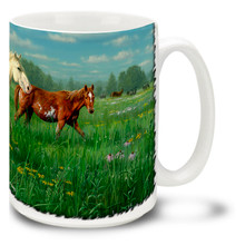 Prairie Meadow Horses Coffee Mug - 15oz. Mug