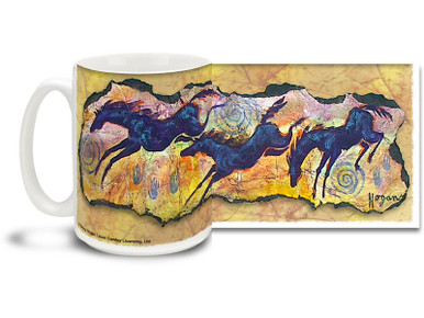 Jumping for Joy Black Horses Coffee Mug featuring dancing and jumping wild black horses and fun spirals in a fun and primitive Native American style. Jumping for Joy Black Horse Mug is dishwasher and microwave safe.