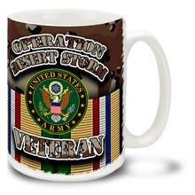 United States Army Emblem and Chocolate Chip Camo from the Desert Storm campaign decorate this proud veteran's mug. This U.S. Army Emblem mug on Camo is durable, dishwasher and microwave safe and features round Army logo mug is sure to be a favorite!