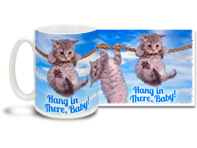 A retelling of the classic... Hang in there, Baby cat mug gives you the reassurance you need on those high-wire days. Hang in there, Baby! cat mug is dishwasher and microwave safe.