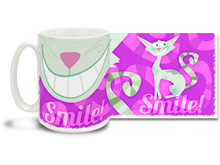 "Mysterious and slinky Cheshire cat gives you the only advice you'll need: ""Smile""! An added bonus is that it looks like you have a happy cat's face when you are drinking your coffee! Cheshire Cat mug is dishwasher and microwave safe."