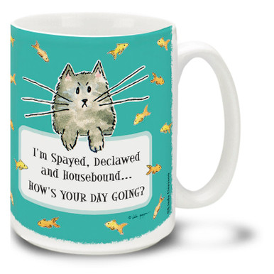 No matter how bad things seem, they could always be a little worse... Count your blessings with this whimsical cat mug! Funny cartoon cat coffee mug is dishwasher and microwave safe.