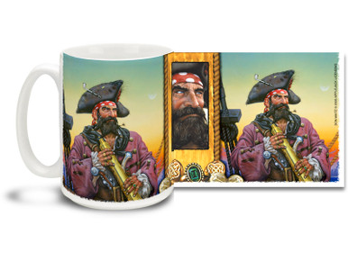 "Celebrate the sunny days of free-roaming adventure with this Pirate Captain mug. Featuring art from famed Swashbuckler artist Don Maitz, world-renowned for his ""Captain Morgan"" character art. Pirate Captain Coffee Mug is dishwasher and microwave safe."