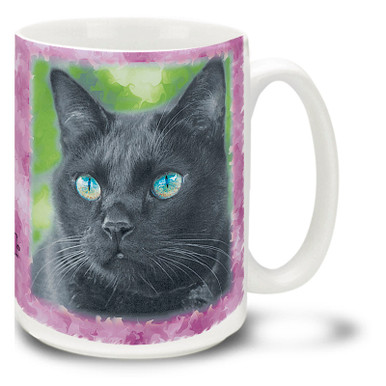 Black cats are rumored to be mysterious shape changers with magical powers, but all of the black cats I have known are sweet, curious and very loving! Of course, what they do when I am not watching could easily be a different matter... Add a little magic to your day with this mystical Black Cat mug. Black cat coffee mug is dishwasher and microwave safe.