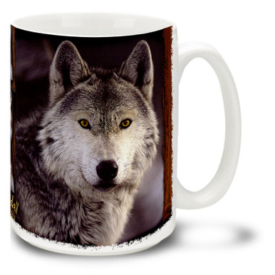 A noble grey wolf looks deep into your soul on this stunning wolf mug. Also spelled Gray Wolf, this noble animal is honored and respected in Native American culture. Grey Wolf coffee mug is dishwasher and microwave safe.