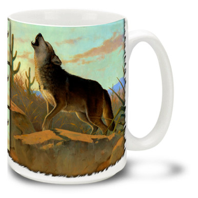 Singing his song in the desert sunset, a proud wolf decorates this colorful wolf mug. Desert Song Wolf coffee mug is dishwasher and microwave safe.