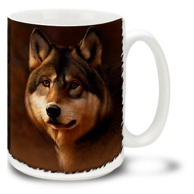 A timberwolf is a subspecies of the common North American wolves. Timberwolves inhabit wooded forest areas. A noble, almost gentle beast adorns this wolf mug. Timberwolf Wolf coffee mug is dishwasher and microwave safe.