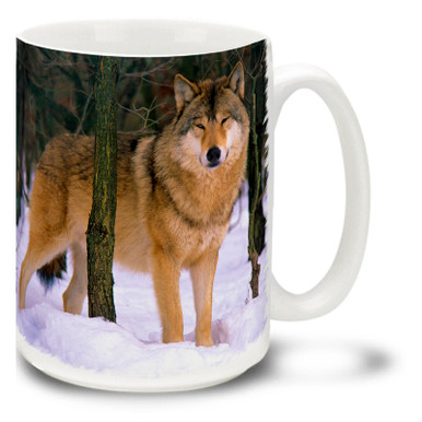 Why wouldn't this wolf be happy? He's about to eat a delicious photographer! Happy Wolf in Snow wolf mug is just about certain to sweeten your coffee, tea or cocoa. Happy Wolf coffee mug is dishwasher and microwave safe.