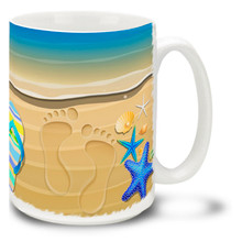 Flippy Floppy Flip-Flops Beach Footprints - 15oz Mug