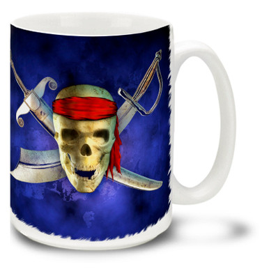 """The origins of the pirate skull and crossed bones is from the military concept of """"take no prisoners"""" called """"no quarter"""". Ships seeing a flag with the skull and crossbones knew that the intentions were hostile! Take no prisoners with this pirate skull mug, complete with crossed swords! Pirates Skull Coffee Mug is dishwasher and microwave safe."""