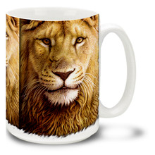An adult male lion can weigh over a quarter of a ton, and lions are fierce and territorial animals. Seize the day with this popular and colorful Lion Mug!Noble Lion coffee mug is dishwasher and microwave safe.