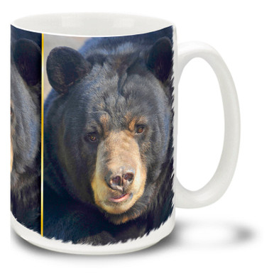 Smarter than the average bear, this fellow seems to have something to say about things! Get up close and personal with this Black Bear coffee mug. 15oz Wise Black Bear coffee mug is durable, dishwasher and microwave safe.