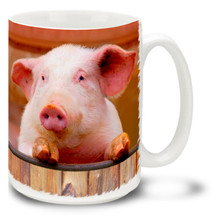 This cute pink pig seems to be waiting at the barnyard fence with some hot gossip! Start your country morning with this cute pig mug. Pink cute pig coffee mug is dishwasher and microwave safe.