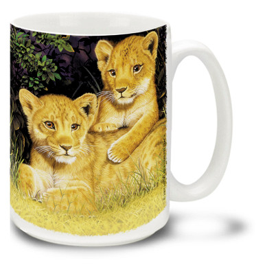 Lion cubs are playful and adorable! Play all day with a lion cub coffee mug. Cute Lion Cubs mug is dishwasher and microwave safe.