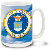 The United States Air Force crest represents all that America's Guardians of Freedom and Justice stand for. The U.S. Air Force provides air support to ground troops and aids in the recovery of troops in the field. Start your day proudly with this Air Force mug! 15oz Air Force crest Coffee Mug is durable, dishwasher and microwave safe.