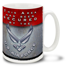 The United States Air Force stands guard every day, protecting the American way of life. Feel secure with this U.S.A.F. mug! Area Secured Air Force Coffee Mug is dishwasher and microwave safe.