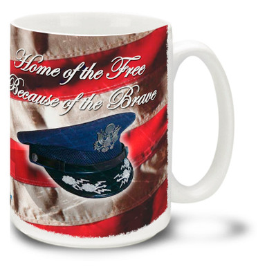 The brave men and women of the United States Air Force protect our freedoms! Celebrate this proud branch of the military with this patriotic Air Force mug featuring a vivid American flag! United States Air Force Coffee Mug is dishwasher and microwave safe.