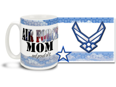 Show your pride in your United States Air Force son or daughter with this colorful Air Force Mom and Proud coffee mug. U.S. Air Force mug also makes a great gift for your mother! Air Force Mom Coffee Mug is \dishwasher and microwave safe.