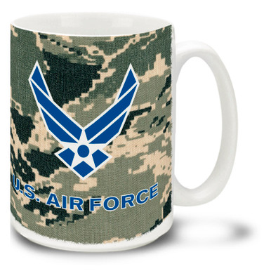 The United States Air Force personnel keep America free and safe everyday, often dressed in their camo uniforms. Get down to business with this U.S.A.F. camo mug! Air Force camo Coffee Mug is dishwasher and microwave safe.