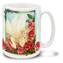 This lovely fairy is in a romantic daydream among the red roses! Lose yourself in the fantasy with this romantic fairy mug. Colorful romantic fairy coffee mug is durable, dishwasher and microwave safe.