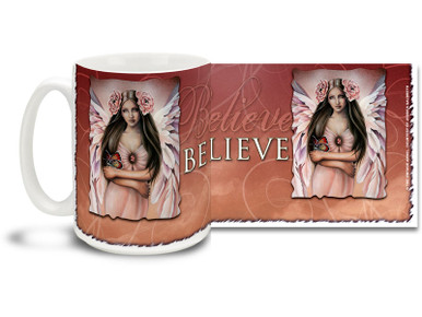 Let your belief grow stronger with this Believe Emergence Angel mug. Warm red tones Believe Emergence Angel coffee mug is dishwasher and microwave safe.