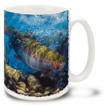 Featuring the bright red flanks, blue-green head and dark spots on its back, this Salmon is in cool, clear waters and ready to be a great catch! Catch a great cup of coffee with this Nymphing Run Salmon Coffee Mug! This colorful Salmon Fishing Mug is dishwasher and microwave safe and celebrates fishing mug holds 15oz. of your favorite coffee.