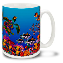 Colorful undersea hues give this Sea Turtle Coffee Mug an almost black-light dayglo appearance, capturing the other-worldly feel of a coral reef. Dive into life with this Turtle Reef Mug! 15oz Coffee Mug is durable, dishwasher and microwave safe. Personalize it with your name for only $3 more!