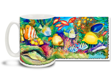It's a whole other world down beneath the waves! Let the waters rise with this Reef Life Tropical Fish Coffee Mug! Bright, vivid Reef Life Tropical Fish Mug is dishwasher and microwave safe and holds 15oz. of your favorite coffee.