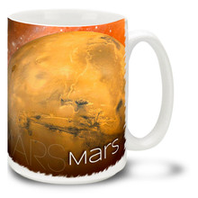 Modern day Mars is more intriguing than ever, with new evidence of massive geologic events and the possibility of underground liquid water and even life! Blast off to adventure with this vivid orange Mars Coffee Mug!  Bright, vivid Mars Mug is durable, dishwasher and microwave safe and holds 15oz. of your favorite coffee.
