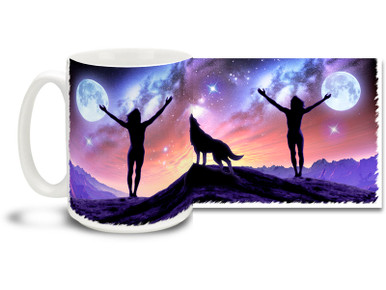 The universe is big - really, really big! If you are here, you are there with this colorful Night Sky mug! Bright, vivid Night Sky Coffee Mug is dishwasher and microwave safe and holds 15oz. of your favorite coffee.