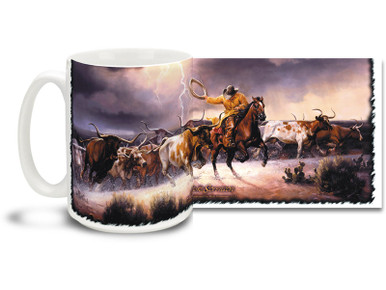 Roping wild steer during the storm is all in a day's work for cowboys on this vivid western mug! Lightning in the Sky Cowboy coffee Mug is durable, dishwasher and microwave safe.