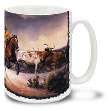 Lightning in the Sky Roping Cowboy - 15oz Mug
