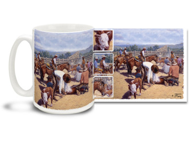 Get busy with this western themed cowboy mug! Branding for the Boss Lady Cowboys coffee Mug is dishwasher and microwave safe.