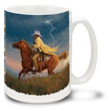 Here Comes the Rain Riding Cowboy - 15oz Mug
