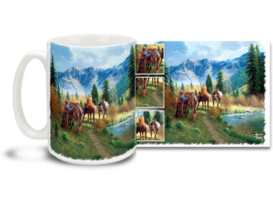 Rode hard and hung up wet? Perk yourself up with this colorful horse and cowboy mug set in the colorful west! Saddle Inspection Cowboys coffee Mug is dishwasher and microwave safe.