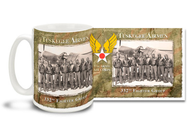 The title Tuskegee Airmen refers to all who trained in the groundbreaking Army Air Forces African-American pilot training program at Moton Field and Tuskegee Army Airfield, Alabama between 1941 and 1945. Tuskegee Airmen coffee mugs are a great way to show your pride in this proud moment in history! This Tuskegee Airmen mug is dishwasher and microwave safe and is sure to be a favorite!