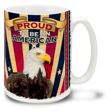 Proud to Be An American Retro Style with Bald Eagle - 15oz Mug