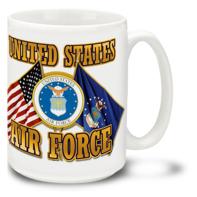 United States Air Force Cross Flags coffee mug features United States and U.S.A.F. Flags and official Air Force Emblem. This Air Force mug is dishwasher and microwave safe.
