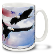 American Bald Eagle with United States Flag  - 15oz Mug